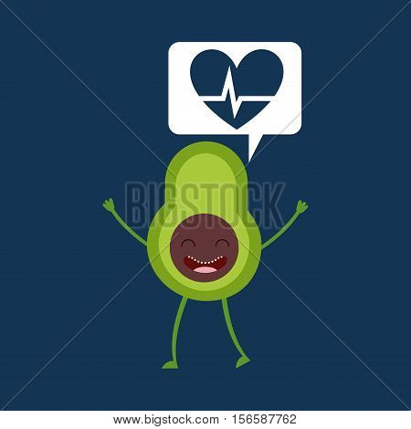 cartoon heartrate avocado fruit vector illustration eps 10