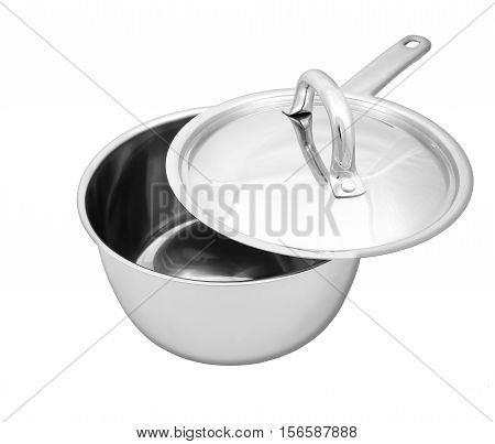 Steel  Saucepan With Opened Cover  Isolated On White