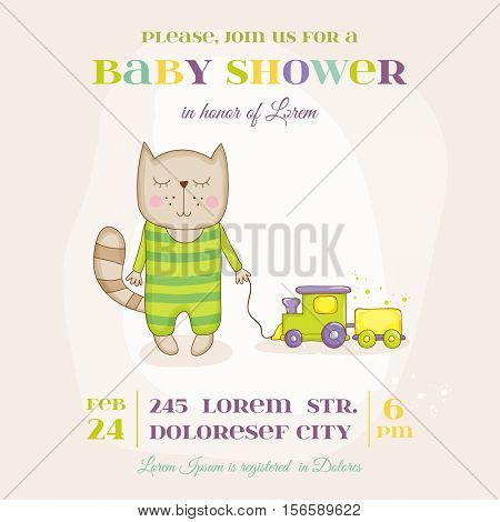 Baby Cat with a Train - Baby Shower or Arrival Card - in vector