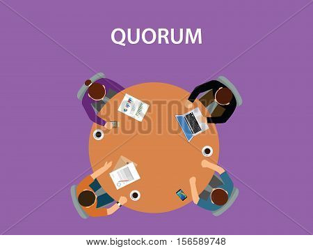 quorum concept illustration with team business people discuss together vector