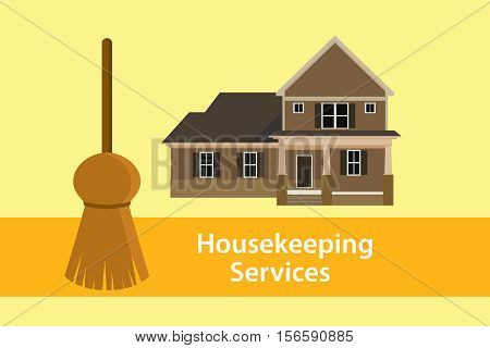 house keeping services illustration concept poster with broom and home vector graphic illustration