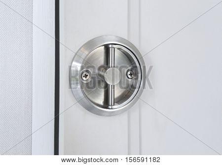 Modern style door handle on the door