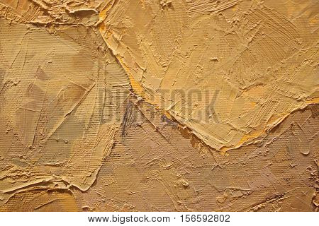 Oil Painting close up texture pallete knife storkes of warm brown yellow   and white color