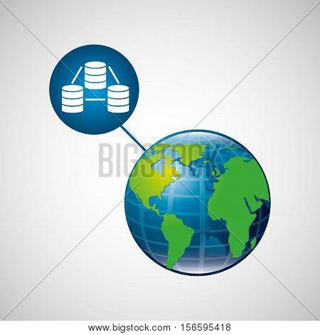 earth global data base connected media vector illustration eps 10