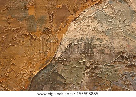 Oil Painting close up texture pallete knife storkes of brown yellow  gray and white color