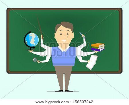 Multitasking is a school teacher the teacher on various subjects. Concept vektor.Repetitor
