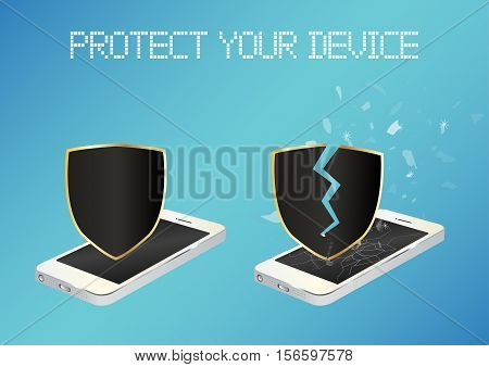 smartphone with protected shield and broken unprotected shield