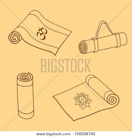 Doodle yoga or fitness mats and sack. Hand drawn set for yoga class or gym. Vector EPS10 illustration.
