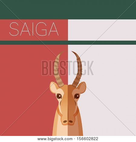 Vector image of the Saiga flat postcard