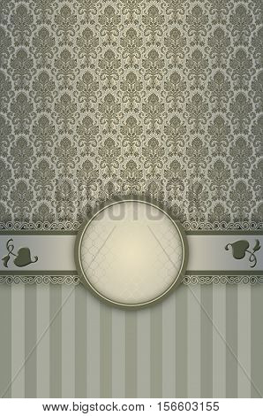 Decorative vintage background with elegant borderframe and old-fashioned floral patterns.