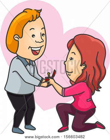 Romantic Illustration of a Woman Offering an Engagement Ring to Her Boyfriend