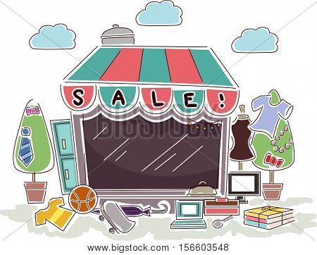 Colorful Illustration of a Small Store Having Promotional Sales on Different Items