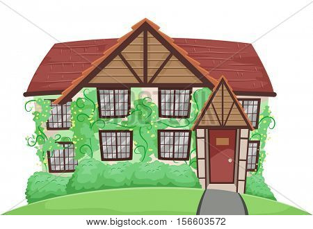 Illustration of a Country House with Vines Crawling All Over the Walls