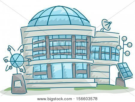 Illustration of a Science Research Center with Science Related Elements Scattered Around