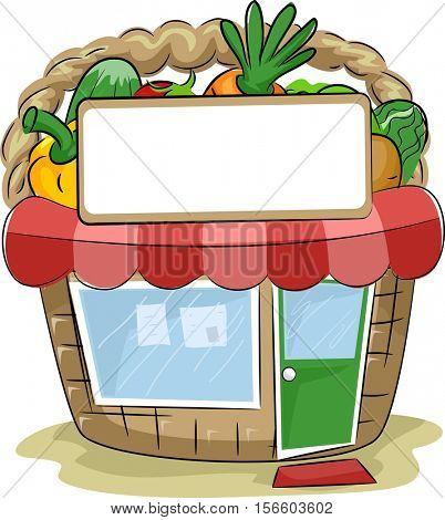 Colorful Illustration of a Produce Stand Shaped Like a Basket Filled with Vegetables
