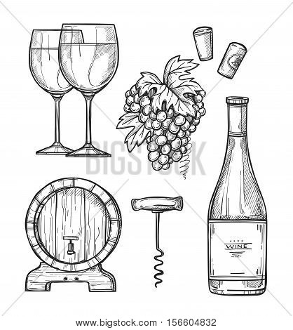 Wine making hand drawn vector illustration. Bottle of wine, corkscrew, wooden wine barrel, wineglass and bunch of grapes sketches isolated on white background. Wine icon. Classical alcoholic drink