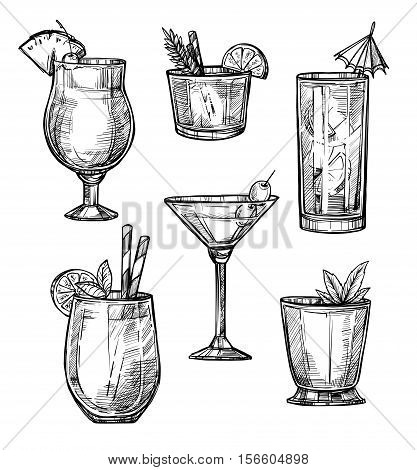 Alcoholic cocktail hand drawn sketch vector illustration. Alcohol drink in different glasses isolated on white background.