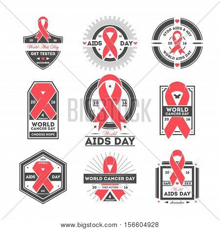 World aids and cancer day label set isolated vector illustration. Stop aids hiv symbol. Safe sex icon. Red ribbon logo. 1st december world aids day, 4th february world cancer day