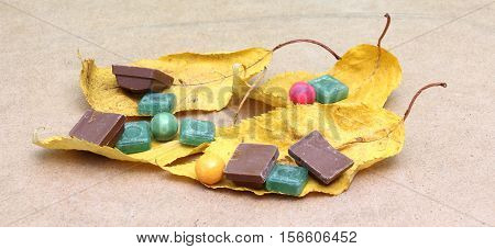 picture of a Green mints candy chocolate and bubble gum