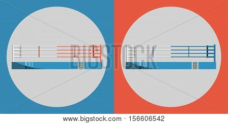 Boxing ring icon. Color sports arena on a blue and red background. Sports Equipment. Vector Illustration
