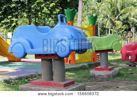 Brightly colored Playground Equipment in the park