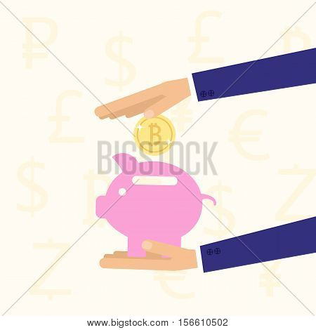 Hand Holding Piggy Bank With Coin