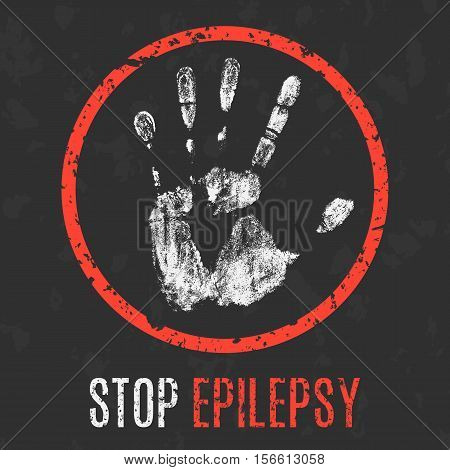 Conceptual vector illustration. Human diseases. Stop epilepsy.