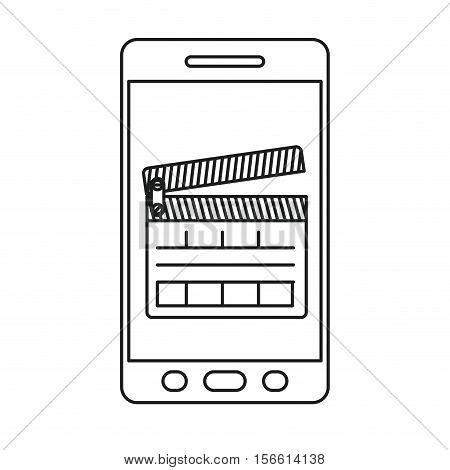 Clapboard and smartphone icon. Movie film video cinema and entertainment theme. Isolated design. Vector illustration