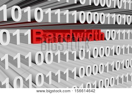 Bandwidth in the form of binary code, 3D illustration