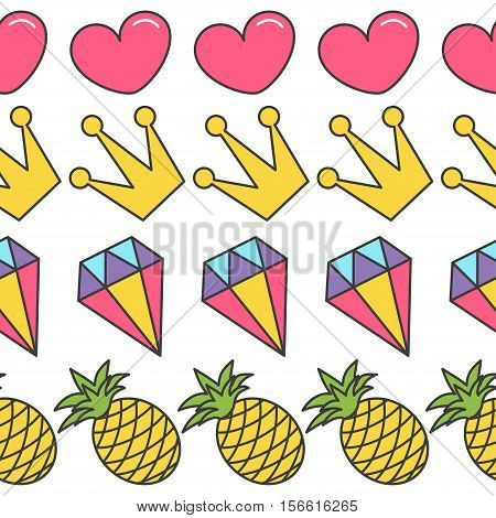 Quirky cartoon Seamless Pattern Pink heart crown diamond pineapple White background. Flat design. Vector illustration.