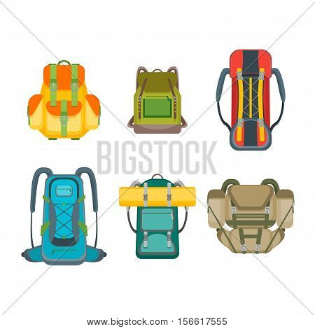 Tourist Camping Backpack Set. Hiking Bag Collection. Flat Design Style Vector illustration