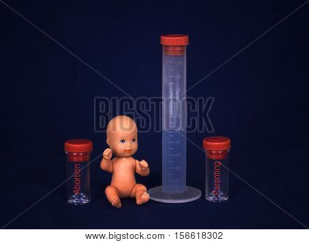 Concept of vitro fertilization. Baby and test tube