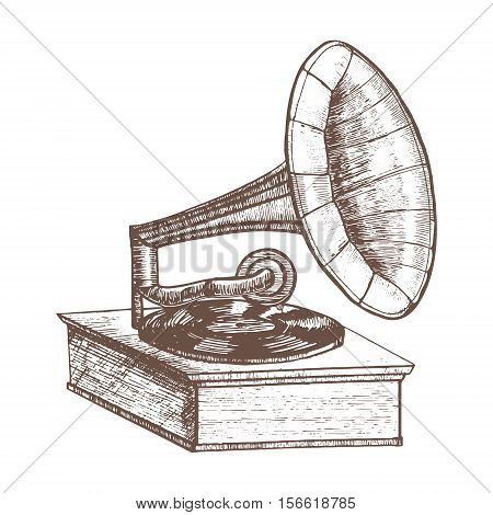 Old Gramophone Hand Draw Sketch Retro Design Style. Vector illustration