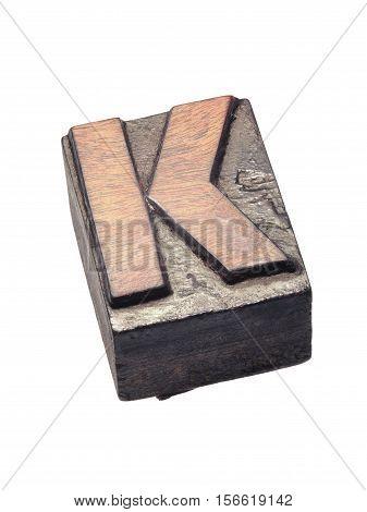 Wooden Letterpress K Block