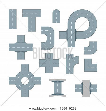 Road Map Design Element Set. Top View Position. Highway Parts. Vector illustration