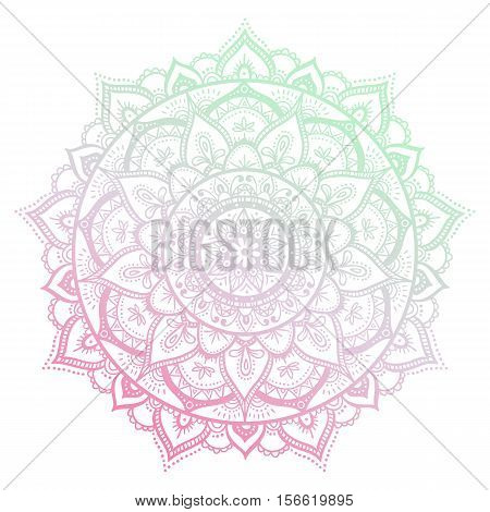 Round Gradient Mandala On White Isolated Background. Vector Hipster Mandala In Green And Pink Colors