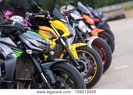 PHETCHABURI, THAILAND - 7 NOVEMBER 2016 : Motorbike touring in Phetchaburi province with many expensive and sporty motorbike stopping at parking area on Nov 7,2016.