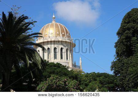 Haifa, Israel - October 30, 2016: Shrine oft he Bab in Bahai World Centre in Haifa. Israel