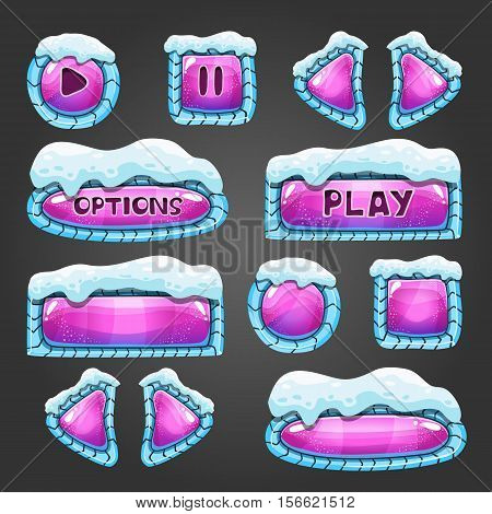 Winter cartoon pink buttons with snow. Game interface illustration.