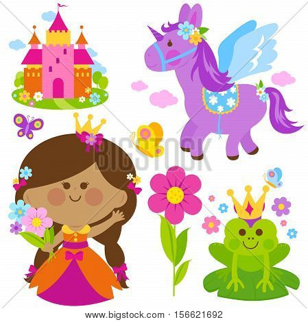 Beautiful princess holding spring flowers, unicorn, a magical frog, castle and butterflies vector set
