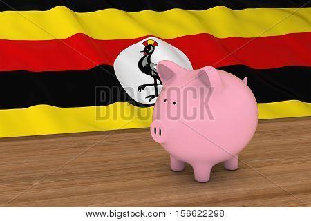 Uganda Finance Concept - Piggybank In Front Of Ugandan Flag 3D Illustration