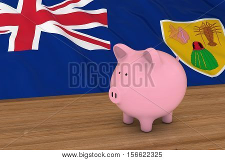Piggybank In Front Of Turks And Caicos Islands Flag 3D Illustration