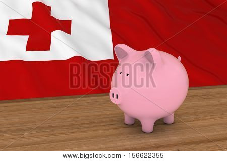 Tonga Finance Concept - Piggybank In Front Of Tongan Flag 3D Illustration