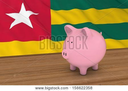 Togo Finance Concept - Piggybank In Front Of Tongan Flag 3D Illustration