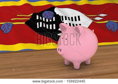 Swaziland Finance Concept - Piggybank In Front Of Swazi Flag 3D Illustration