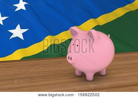 Solomon Island Finance Concept - Piggybank In Front Of Solomon Islands Flag 3D Illustration