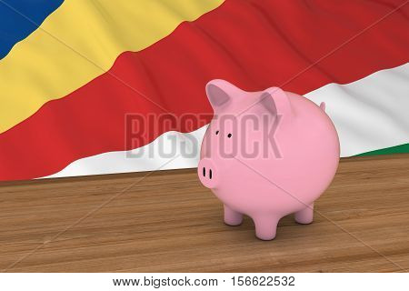 Seychelles Finance Concept - Piggybank In Front Of Seychellois Flag 3D Illustration