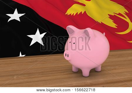 Papua New Guinea Finance Concept - Piggybank In Front Of Papua New Guinean Flag 3D Illustration