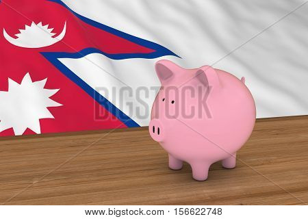 Nepal Finance Concept - Piggybank In Front Of Nepalese Flag 3D Illustration