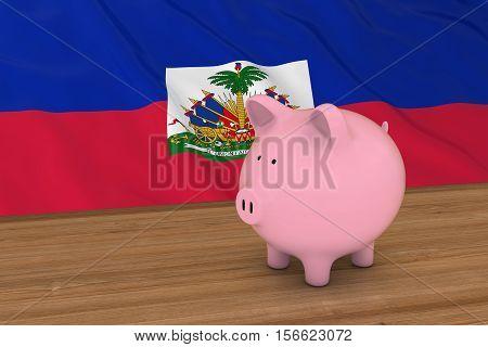 Haiti Finance Concept - Piggybank In Front Of Haitian Flag 3D Illustration